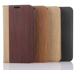 Wholesale Card Case Wood Wholesale - Wood Grain Flip PU leather Case Wallet Credit Card Slots Holder Stand Cases Back cover For Samsung Galaxy S6 G9200