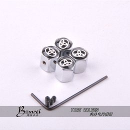 Wholesale Stainless Steel Car Wheels - 2015 Free Shipping Theftproof Stainless Steel Black 4PCS Car Wheel Tire Valves Tyre Stem Air Caps Airtight Cover For Toyota