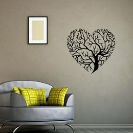 Wholesale fashion television - Heart-Shaped Tree Wall Art Mural Decor Sticker Living Room Bedroom Fashion Decoration Graphic Poster Transfer Tree Wall Applique