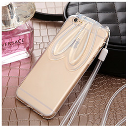Wholesale Iphone 4s Clear Silicone Case - soft tpu ultra thin case clear phone case backcover with rabbit ear as stent for iphone 4 4s 5 s 6 6s 6plus samsung smart phone