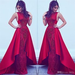 Wholesale Ankle Bones Pictures - 2018 Formal Red Evening Dresses with overskirt Dubai Arabic Styles Sheath Jewel Neck Beads Appliques Party Prom Gowns Celebrity Wears