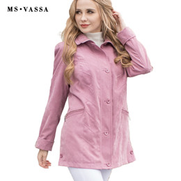 Wholesale Jacket Micro - Wholesale- 2016 jacket ladies fashion jacket micro moss classic women jacket solid color turn-down collar high quality plus over size S-7XL