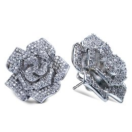 Wholesale Silver Plated Earring Posts - Bridal Rose flower earrings stud 925 sterling silver post Jewelry Earrings Top Quality Cubic Zircon Women Stud Earring Romantic for Bridal