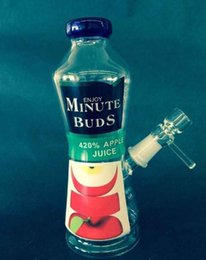 Wholesale Bud Pipes - New Enjoy Minute Buds Bottle Glass Bong for Herb Tobacco Ash Catcher 18mm joint Bongs for Smoking Water Pipes In Stock