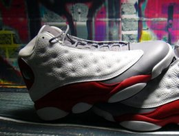 Wholesale Sports Footwear Brands - Discount Mens Basketball Shoes flyman brand Air Retro 13 Hologram Women Basketball Sport Footwear BRED Grey Toes Super perfect quality