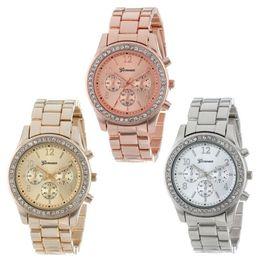 Wholesale Wholesale Crystal Clocks - 2015 Fashion Watch Geneva Unisex Quartz Watch Women Analog Wristwatches Bling Crystal Clocks Stainless Steel Watch Relogio Reloj