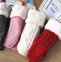 Wholesale Thick Ropes - Women Winter Dpuble Layer Thick Cashmere Wool Adult Warm Knit Twist Full Finger Gloves Soft Lady Fur Mittens With Long Rope Hot