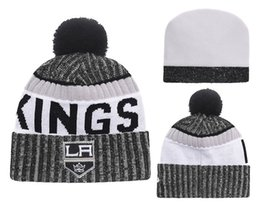 Wholesale Cuffed Knit Beanies - 2017 New Men's Los Angeles Kings LA Striped Style Knit Beanies Quality Winter Cap Skullies Ice Hockey Pom Embroidery Cuff Caps