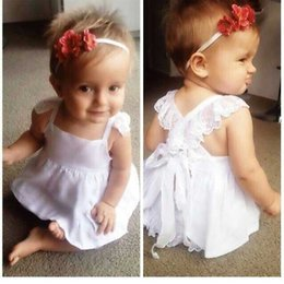 Wholesale Summer Baby Dress Wholesale - 2015 NEW ARRIVAL Baby girl kids infant 2piece set Princess Dress lace corset Lace Dress HOT SELLING + bloomers diaper covers pants 5sets