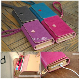 Wholesale Purple Galaxy S3 Wallet Cases - Envelope Card Wallet Leather Purse Case Cover Bag For Samsung Galaxy S2 S3 S4 i9500 For Iphone4g Mobile Phone WA-17