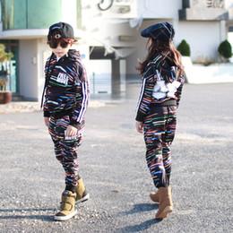 Wholesale Korean Kid S Clothes - Fashion Korean Kids Clothes Set Casual Striped Autumn Children`s Boys Girls Sport Suit Set Long Sleeve Size 4 6 8 10 12 14
