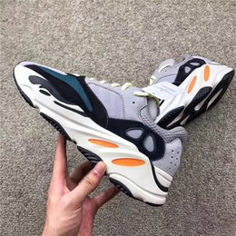 Wholesale Fabric Chalk - Kanye West Wave Runner 700 Running Shoes 700 Boost Shoes Solid Grey Chalk White Core Black Fashion Casual Sports Sneakers With Original Box