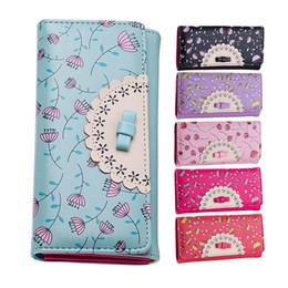 Wholesale Printing Folder - Wholesale- New Fresh Flora Printing Girl Wallet Three Folder Women Clutch Card Holder Money Purse Lady Pu Carteria