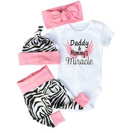 Argentina Baby Girl Clothes Set Ropa para niños pequeños Mameluco de algodón + Pantalones de cebra + Sombrero + Diadema con lazo 4PCS Miracle Daddy Mommy's para niños, niñas, trajes supplier zebra pants for kids Suministro