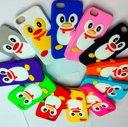 Wholesale Iphone 3d Skin - 3D Penguin Silicone Case Soft Back Cover Colorful Cute Skin Cover for iPhone 5 5G iPhone5