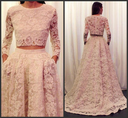 Wholesale Gray Dess - 2016 Sexy Lace Two Pieces Evening Dresses Long Sleeves Prom Dresses Formal Gown vestidos de festa High Quality Dess Party Evening Gowns