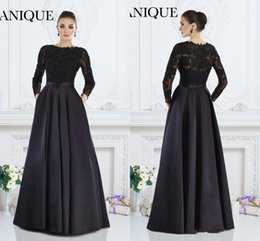 Wholesale Janique Prom - 2016 New Cheap Janique Prom Dresses Jewel Neck Illusion Lace Appliqued Beads Back Satin Long Sleeves Party Dress Evening Gowns With Pocket