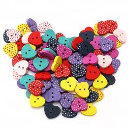 Wholesale Dot Craft Buttons - 100 Pcs 15mm Mixed Polka Dot Heart Wood Wooden Sewing Buttons Craft Scrapbooking