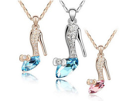 Wholesale Crystal Shoe Pendant - 18K Gold Plated Jewelry Cinderella Crystal shoes Pendant Austria Crystal Necklace