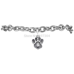 Wholesale Wholesale Pawprint Jewelry - High Quality 10Pcs Lot Zinc Alloy Antique Silver Plated Fashion Animal Pawprint Charm Bracelet Jewelry Made In Zhe Jiang