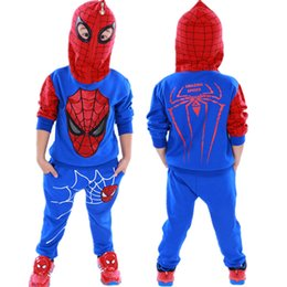 Wholesale Spiderman Baby Suit - Spiderman Children Boys Clothing set Baby Boy Spider man Sports Suits 3-7 Years Kids 2pcs Sets Spring Autumn Clothes Tracksuits