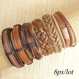 Wholesale Leather Indian Bracelets For Men - Free shipping wholesale (6pcs lot) cool bangles ethnic tribal genuine adjustable leather bracelet for Men-TE147