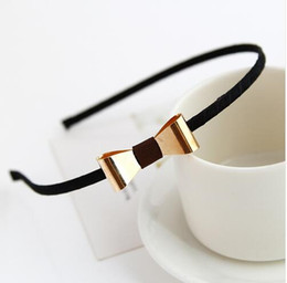 Wholesale Modern Hair Accessories - Simple Design Silver-plated Golden Plated Modern Metal Bows Headband Hair Bands for Girls Women Headwear Hair Accessories 20pcs