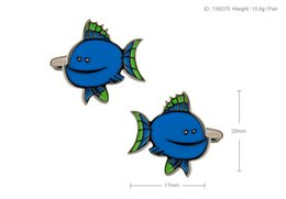 Wholesale Rare Fish - High Quality New Classic Silver Copper Mens Wedding Cufflinks Novelty Rare Fancy Fish & Clean Cloth 158375