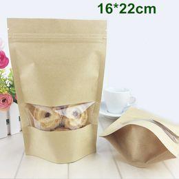 Canada En gros 200 Pcs / Lot 16 * 22 cm Kraft Papier Emballage Sac Zipper Ziplock Stand Up Poche Doypack Stockage des aliments Sac D'emballage Avec Fenêtre Claire Offre