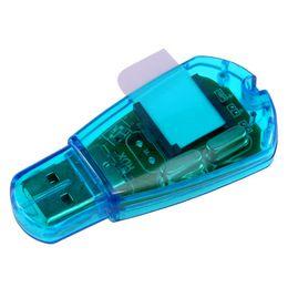 Wholesale Sim Card Reader Writer Cloner - Wholesale-Hot Sale Portable Blue USB Super sim card reader writer copy cloner backup For Backup SMS to PC