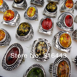 Wholesale Womens Rings Sale - Hot Sale 10pcs Mix large Vintage Amber Antique Silver Retro Womens Mens Rings Wholesale Jewelry Lots Free Shipping A-914