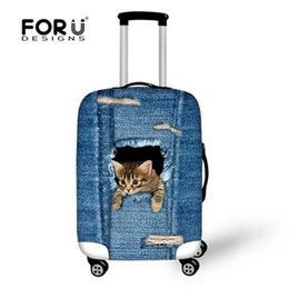 Wholesale Protective Covers For Luggage - Dropshipping Hot Denim Cats Fashion Brand Women Travel Luggage Protective Cover Elastic Covers Bags for 18-30 Inch Trunk Case