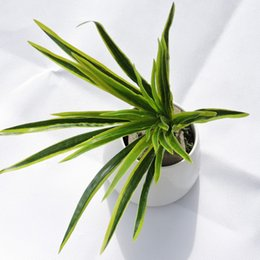 Wholesale Latex Flowers Orchids - Latex 4pcs X 30 Leaf Artificial Grass Orchid Plant Branch Tree Wedding Home Wall Furniture Decor Green