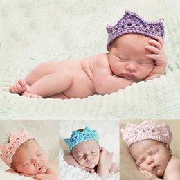 Wholesale Crocheted Baby Headbands - 1 X Newborn Baby Girls Boys Princess Crochet Crown Tiara Headband Hairband for 2-10 Months Hair Accessories