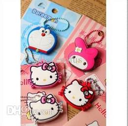 Wholesale Melody Case - Wholesale-Kawaii Cartoon Hello Kitty Melody Doraemon Silicon Key Caps Covers Keys Keychain Case Shell Novelty Item Retail KCS