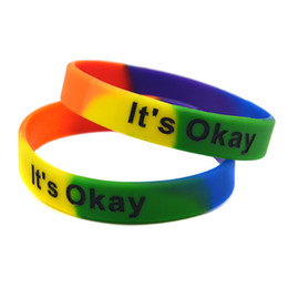 Wholesale Silicon Wristband Custom - Wholesale 100PCS Lot It's Okay Bracelet Silicon Wristband For Give Away Gift, Custom Promotion Gift Rainbow Colour Adult Size