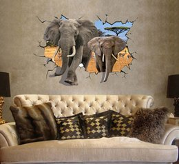 Wholesale Elephant Vinyl - Free Shipping Large 3D Elephant Wall Stickers Removable Vinyl Art Decals Room Home Decors Wall Decals Wallpaper 70*100cm