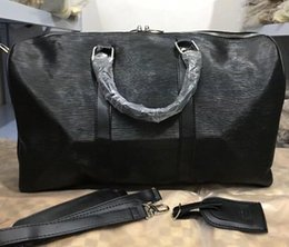 Wholesale Single Strap Man Bags - classic Top quality lady genuine oxid Leather speedy 45cm men's travel bag handbag with shoulder strap purse tote bag