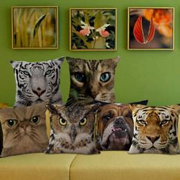 2019 almofadas de almofadas para cão 3D Animal Rosto Impresso Fronha Estéreo Cão Gato Rosto Lance Fronha de Linho Capa de Almofada Travesseiro Casa Suprimentos 8 tipos YFA149 almofadas de almofadas para cão barato