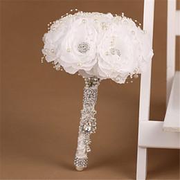 Wholesale Western Wedding Bouquets - Pure White Western Pearls Bouquet Para Casamento Wedding Party Bridesmaid Ramo De Novia Azul Bridal Diamond Artificial Flowers
