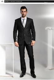 Wholesale Groom Summer Wedding Attire - 2017 new style fashion design handsome men's new design suits Men's suits business attire suits men's groom wedding dress in black