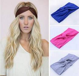 Wholesale Stretch Twist Headband - twist knot headband stretch lycra brand turban hair band cross headbands yoga headwear girl hair accessories bow free shipping