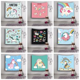 Wholesale Wholesale Printed Towels - 18 Designs 150*130cm 3D Digital Printed Unicorn Towel Beach Tapestry Hippie Throw Yoga Mat Towel Unicorn Beach Shawl CCA8148 10pcs