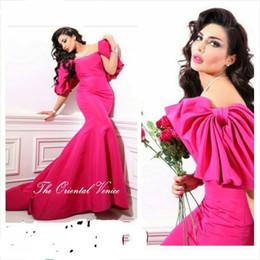 Wholesale Hot Pink Satin Robes - Robe De Soiree Dubai Hot Pink Mermaid Evening Dress 2017 Saudi Arabia Big Bow Short Sleeve Prom Formal Dresses Vestidos de Festa