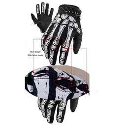 Wholesale Cycling Skeleton Gloves - Tactical Airsoft Ghost claw Full Finger White Skeletons Motorcycle bicycle Microfiber antiskid Skull Gloves for Racing Cycling free shipping