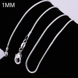 Wholesale Sold 925 Sterling Silver Necklace - 100PCS LOT High quality hot sell new 925 sterling Silver fashion jewelry charms 1mm 18-24inch snake chain necklace jewelry fit any pendant