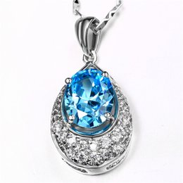 Wholesale Blue Topaz White Gold Necklace - Water Drop Blue Topaz Pendant 18K White Gold Plated with Chain Fashion Blue Crystal Necklace Jewelry For Valentine's day Gift