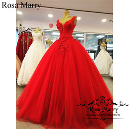 Wholesale One Shoulder Quinceanera Dresses - Red 3D Floral Arabic Ball Gown Prom Dresses 2018 One Shoulder Plus Size Crystals Tulle Cheap Dubai African Pageant Quinceanera Party Gowns