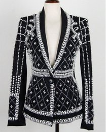 Женские жакеты ручной работы онлайн-Wholesale-Barocco Latest Runway New Fashion Top Quality Women's Pearls Handmade  Novelty Jacket Luxury Black Outerwear