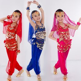 Wholesale Girls Indian Dance Costumes - Children Belly Dance Costumes Kids Belly Dancing Girls Bollywood Indian Performance Cloth Whole Set 6 Colors